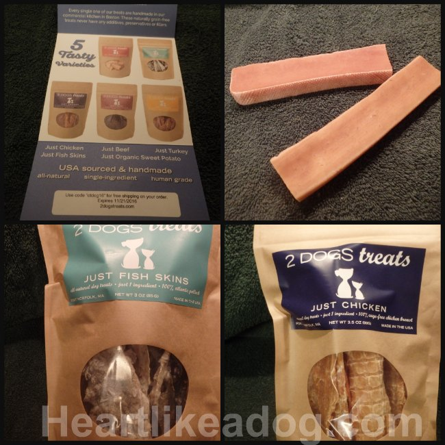 Some of the treats offered by 2 Dogs treats.